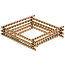 Bandeja Espelhada Wire Rosé Gold 10x20cm Retangular - Hara