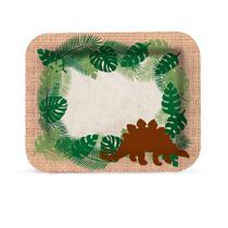 Bandeja Laminada Prato Retangular Mundo dos Dinossauros r5 Cromus - Festabox