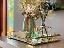 Bandeja Luana Espelho com Aramado Gold 10cm (a) X20cm (c)- 164010 Hara -
