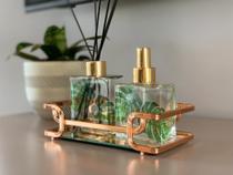 Bandeja Luana Espelho com Aramado Rose Gold 10cm (a) X20cm (c)- 16402 Hara -