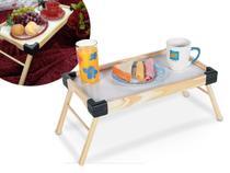 Bandeja Madeira Servir Café da Manhã Cama Mesa Pés Dobráveis Pequena Prático Modelo Small - Tramontina -