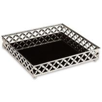 Bandeja Prata em Metal com Espelho Preto Pequena MART 11418 -