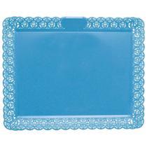 Bandeja Rendada Retangular 28x34cm Azul Clara - Brilhante