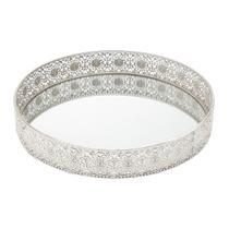 Bandeja, Suporte 30 cm de ferro niquelado esmaltado prata com espelho Prestige - 3979 -