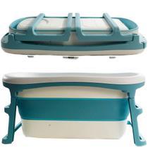 Banheira de Adulto e Bebê Luxo Dobrável com 180 Litros A Partir de 10 meses a 80kg Azul - Kababy - K Baby