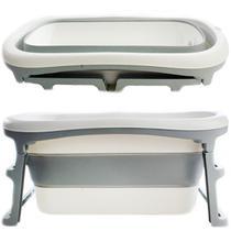 Banheira de Adulto e Bebê Luxo Dobrável com 180 Litros A Partir de 10 meses a 80kg Cinza - Kababy - K Baby
