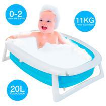 Banheira Splash Dobrável Flexível Bebe Azul Dican -