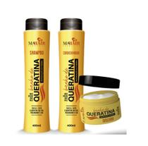 Banho de queratina kit completo shampoo - condicionador - máscara mahair -