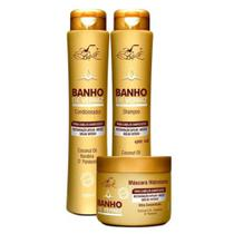Banho de verniz kit completo 3 produtos shampoo - condicionador - máscara belkit -