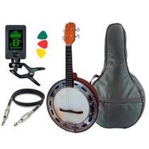 Banjo Elétrico Rozini Rj14 Natural Escuro Afinador Capa -