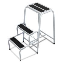 Banqueta Dobrável Forte Mini Escada 3 Degraus Banquinho Retrátil Super Resistente Antiderrapante - Utilaço