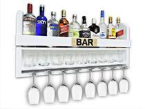 Bar Barzinho Adega Suporte de Parede Para Whisky Vinhos Bebidas 100x45cm Branco Fosco - Soul Fins