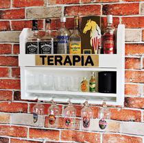 Bar Barzinho Adega Suporte de Parede Para Whisky Vinhos Bebidas 60x45cm Branco - Soul Fins