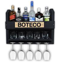 Bar Barzinho Adega Suporte de Parede Para Whisky Vinhos Bebidas 60x45cm Preto Fosco - Soul Fins