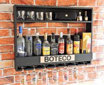 Bar Barzinho Adega Suporte de Parede Para Whisky Vinhos Bebidas 80x60cm Preto Fosco - Soul Fins