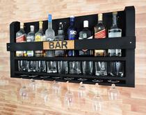 Bar Barzinho Suporte De Parede Adega Vinhos Bebidas 100x45cm Preto Fosco - Soul Fins