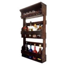 Bar de Parede Rústico Art Madeira até 8 Garrafas com Porta Copos - Arte em madeira