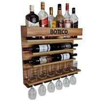Bar e Adega de Parede para bebidas e vinho - Boteco - 60 x 51 cor Nogueira - Co2Beer