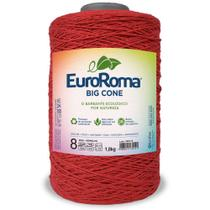 Barbante Big Cone Colorido nº8 com 1,8kg EuroRoma - Cor 1000 Vermelho - Eurofios