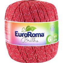 Barbante Colorido Brilho Prata 4/6F406M Vermelho - Euroroma