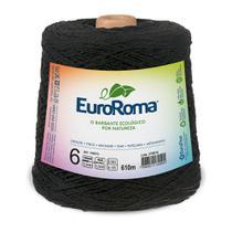 Barbante Colorido nº6 c/ 600g EuroRoma - Preto - Eurofios