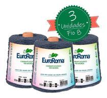 Barbante Euroroma 600g - Nº 6 - Kit 3 Unidades cor Jeans - Eurofios
