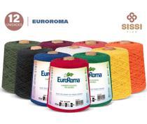 Barbante euroroma 600g número 6 kit 12 unidades cores sortidas -