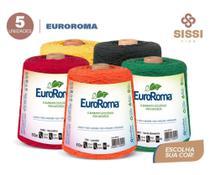 Barbante euroroma 600g número 6 kit 5 unidades cores sortidas -