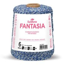 Barbante Fantasia 4/6 610M 600G Cru e Azul 5017 Euroroma -