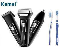 Barbeador Elétrico 3 em 1 Shaver duplo maquina cortar cabelo aparador pelos Com escova de dente - Kemei