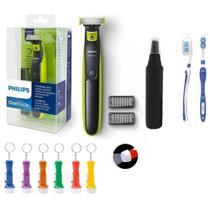 Barbeador Eletrico Philips One Blade Oneblade Qp2521/10 Seco Molhado E Aparador De Pelos Nariz -