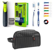Barbeador Eletrico pro Philips One Blade Oneblade Qp2510/10 com necessaire executiva -