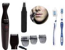 Barbeador Philips MG1100 16 Multigroom 2 em 1 a Prova D Agua com aparador de pelos do nariz e orelha -