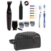 Barbeador Philips MG1100 16 Multigroom 2 em 1 a Prova D Agua com necessaire e aparador de pelos do nariz e orelha -