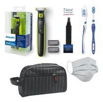 Barbeador Philips One Blade Oneblade Qp2521/10 Seco Molhado Com Aparador De Pelos Do Nariz E Necessaire -