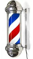Barber Pole 70cm Poste Barbearia Barbeiro Inox Rotativo Luz Dompel -