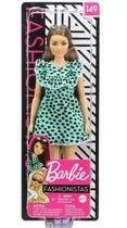 Barbie Fashionista 149 - Morena Vestido Verde Água Bolinhas - Mattel