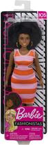 Barbie  Fashionistas 105 Negra Black Power Stirped Dress Curvy - Mattel