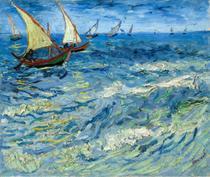 Barcos de Pesca em Saintes-Maries (1888) - Vincent van Gogh - 50x59 - Tela Canvas Para Quadro - Santhatela