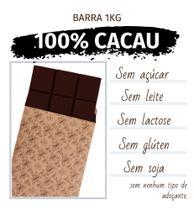 Barra de chocolate 100% cacau BRUT - 1,01kg - zero açúcar , zero gluten, zero lactose e zero soja - Java Chocolates