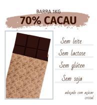 Barra de chocolate 70% cacau 1kg - sem glúten, lactose, leite e soja - Java Chocolates