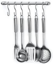 Barra para pendurar utensílios de cozinha na parede incluso 6 ganchos - Arthi