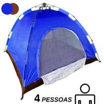 Barraca Automatica 4 Lugares Camping Azul com Marrom Monta Sozinha Iglu - Ideal