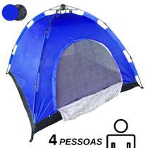 Barraca Automatica 4 Lugares Camping Azul com Preto Estampado Monta Sozinha Iglu - Ideal