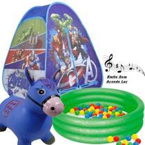 Barraca Bolinhas Dobrável Menino Herois Vingadores Azul Toca Casinha Infantil 10a Piscina 80 Litros Cavalinho - Zippy Toys