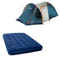Barraca Camping Iglu Indy 4 Pessoas 152450 + Colchão Inflável Zenite Com Inflador Pé Casal Nautika -