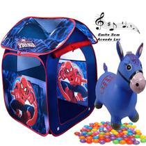 Barraca Com Bolinhas Casa Homem Aranha Dobrável Menino Azul Toca Infantil 1c e Cavalinho Musical Pula Pula - Zippy Toys