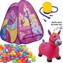 Barraca Com Bolinhas Infantil Toca Princesa Cabana Casa Menina 10d Cavalinho Rosa Musical Bomba - Zippy Toys