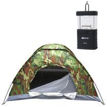 Barraca de Camping Camuflada Para 03 Pessoas + Mini Lampião Talino Nautika à Pilhas Para Barracas - Rotony