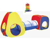 Barraca Infantil Cabana Toca Tenda Tunel 3 em 1 Tipo Piscina 50 Bolinhas Bebê Crianças Importway BW067 -